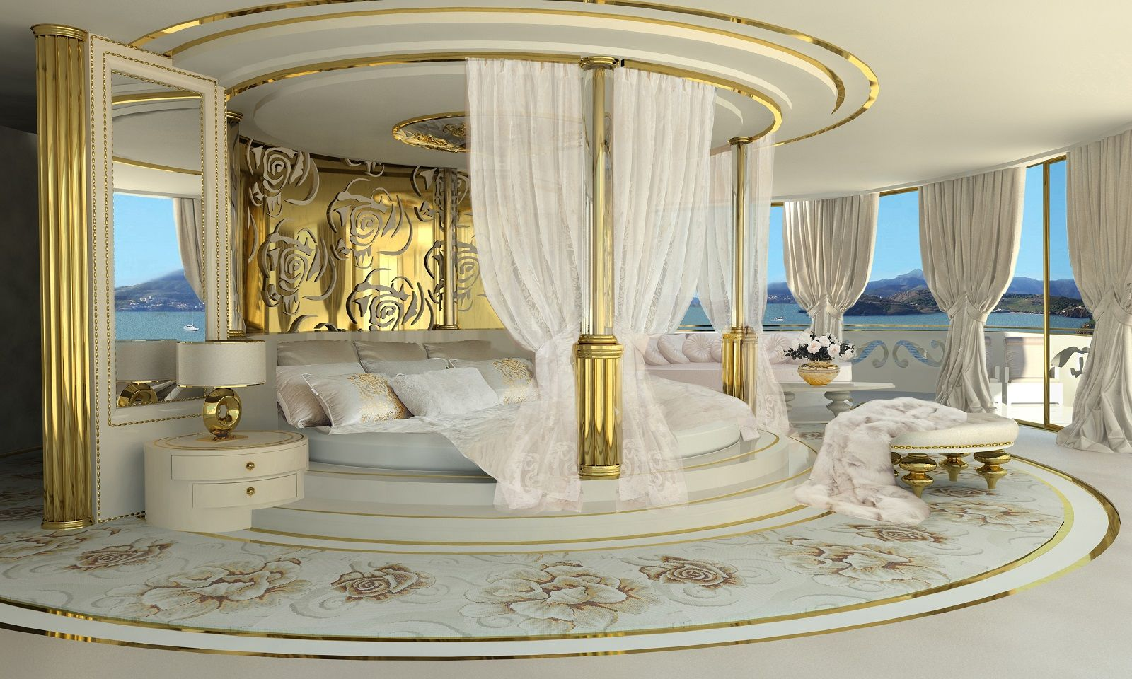 Master Bedroom King Size Bed lidia bersani / la belle - luxury mega yacht, large master bedroom