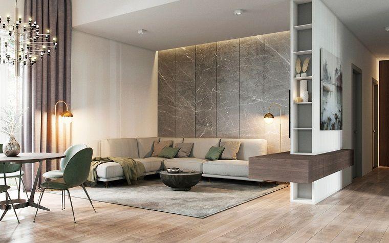 Arredare salotto e sala da pranzo insieme con un divano di for Disposizione salotto sala pranzo