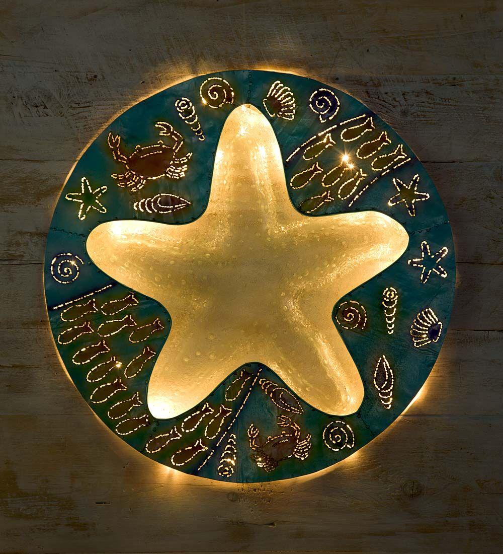 Starfish Metal and Glass Wall Art in Wall Sculpture Art | Beach ...