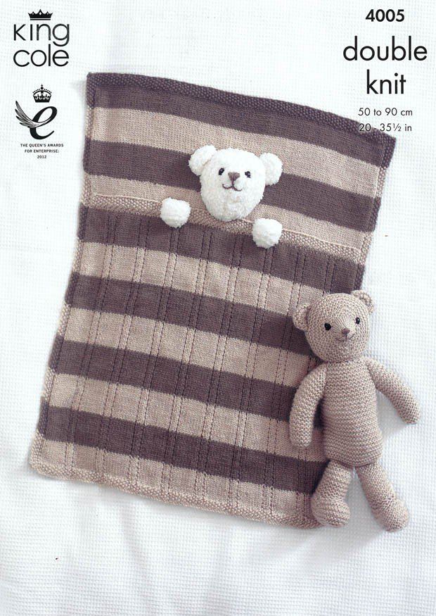 Baby Blankets and Teddy Bear Toy in King Cole DK (4005) | Deramores ...