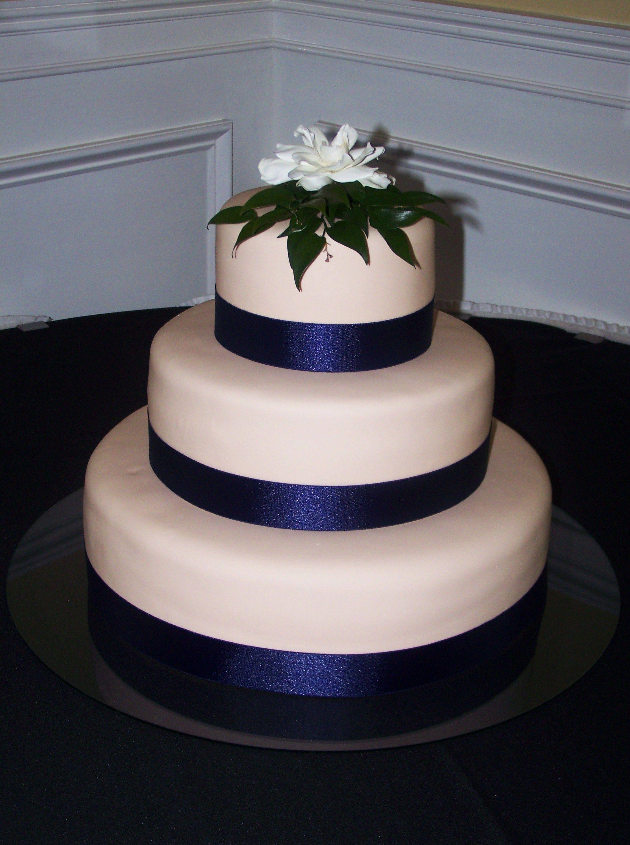 Champagne Wedding Cake w Navy Ribbon