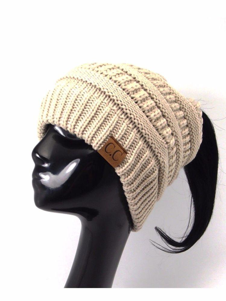 86d8b2308326c6 Women CC Beanie Ponytail Hat Bubble Knit Fashion Winter Slouch Hats Oversize  #fashion #clothing #shoes #accessories #mensaccessories #hats (ebay link)