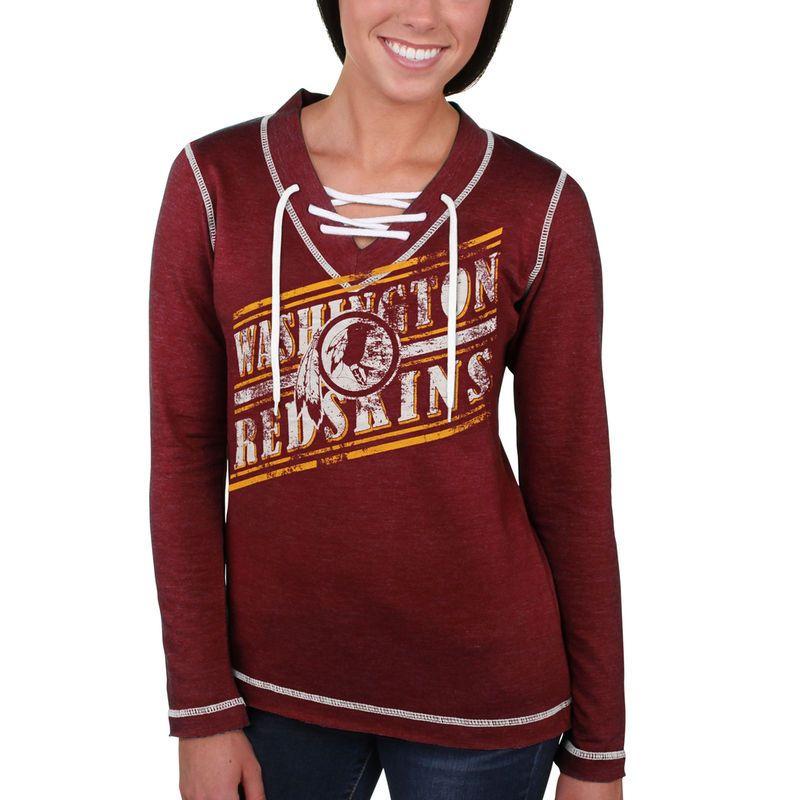 Washington Redskins Majestic Women s Overtime Queen V-Neck Pullover  Sweatshirt – Burgundy 329d06206
