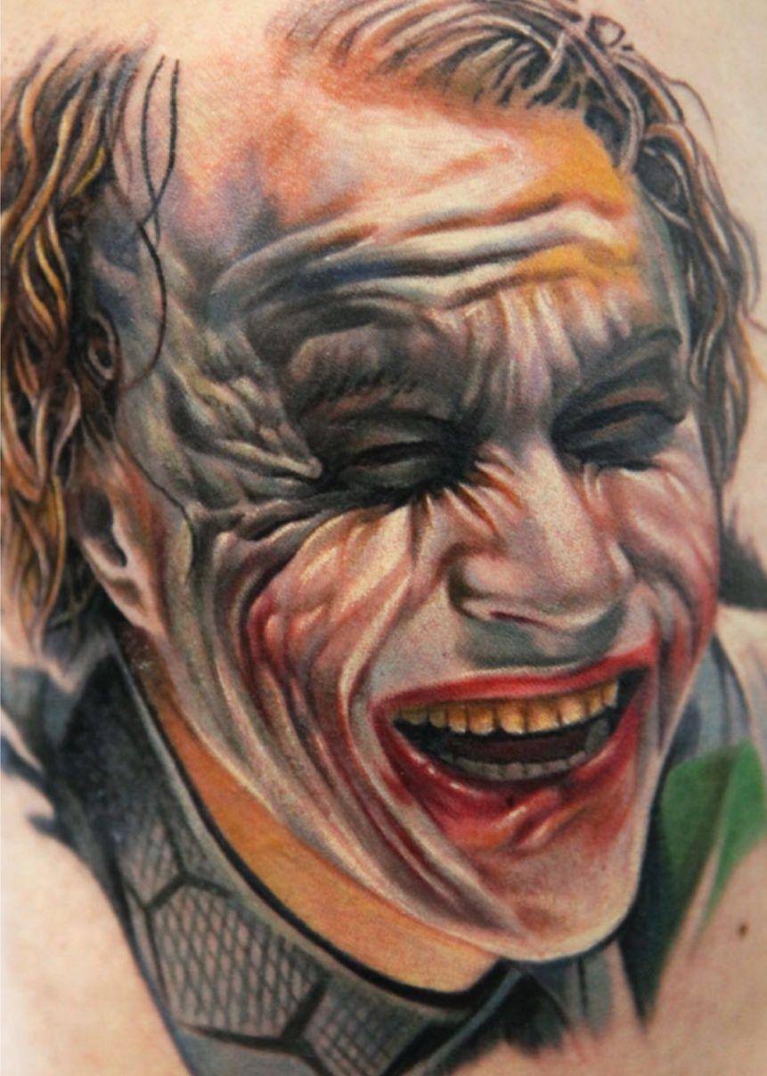 Heath Ledger as the Joker by Q InkedMagazine tattoos