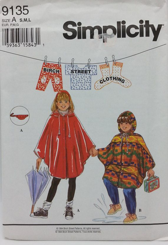Childs Rain Poncho Pattern Simplicity 9135 by GrannysThimble ...