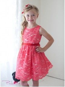 Coral Soft Quality Lace Girl Dress