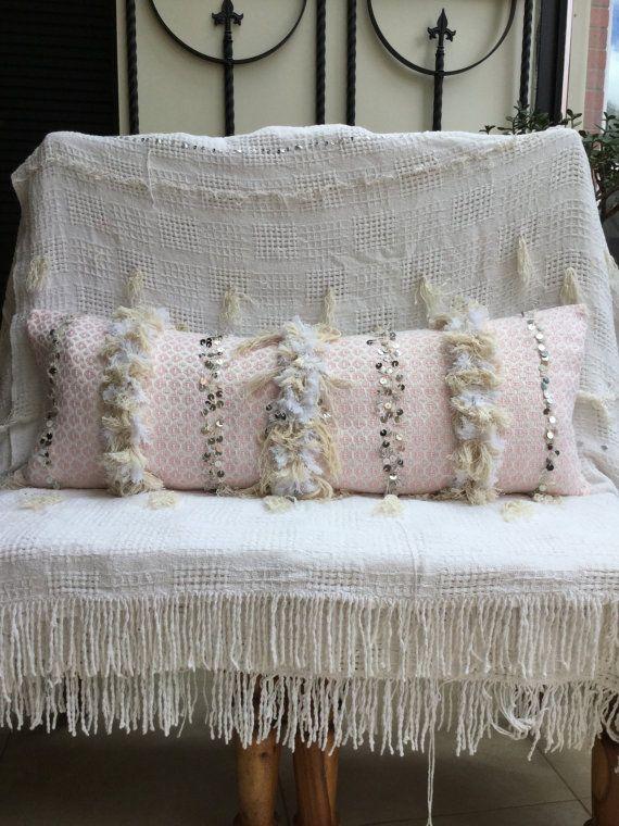 Long Lumbar Pink Moroccan Wedding Blanket Pillow Moroccan
