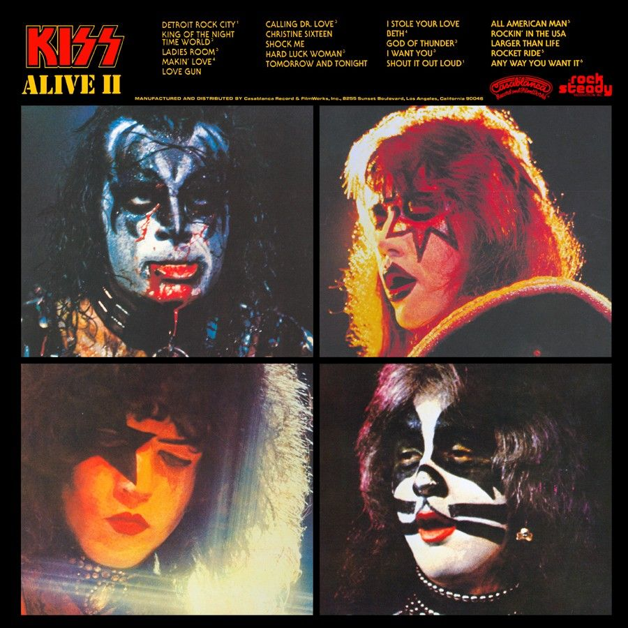 Kiss Alive Ii Back Cover Kiss Album Covers Kiss Rock Bands