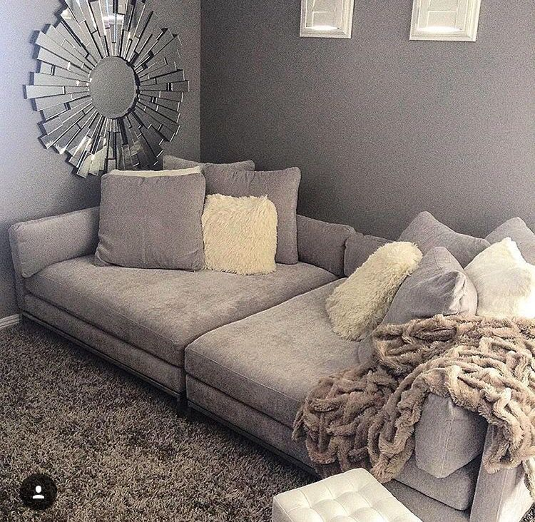 Living Room In Greu Tone Couch Deep Sectional Bedroom With