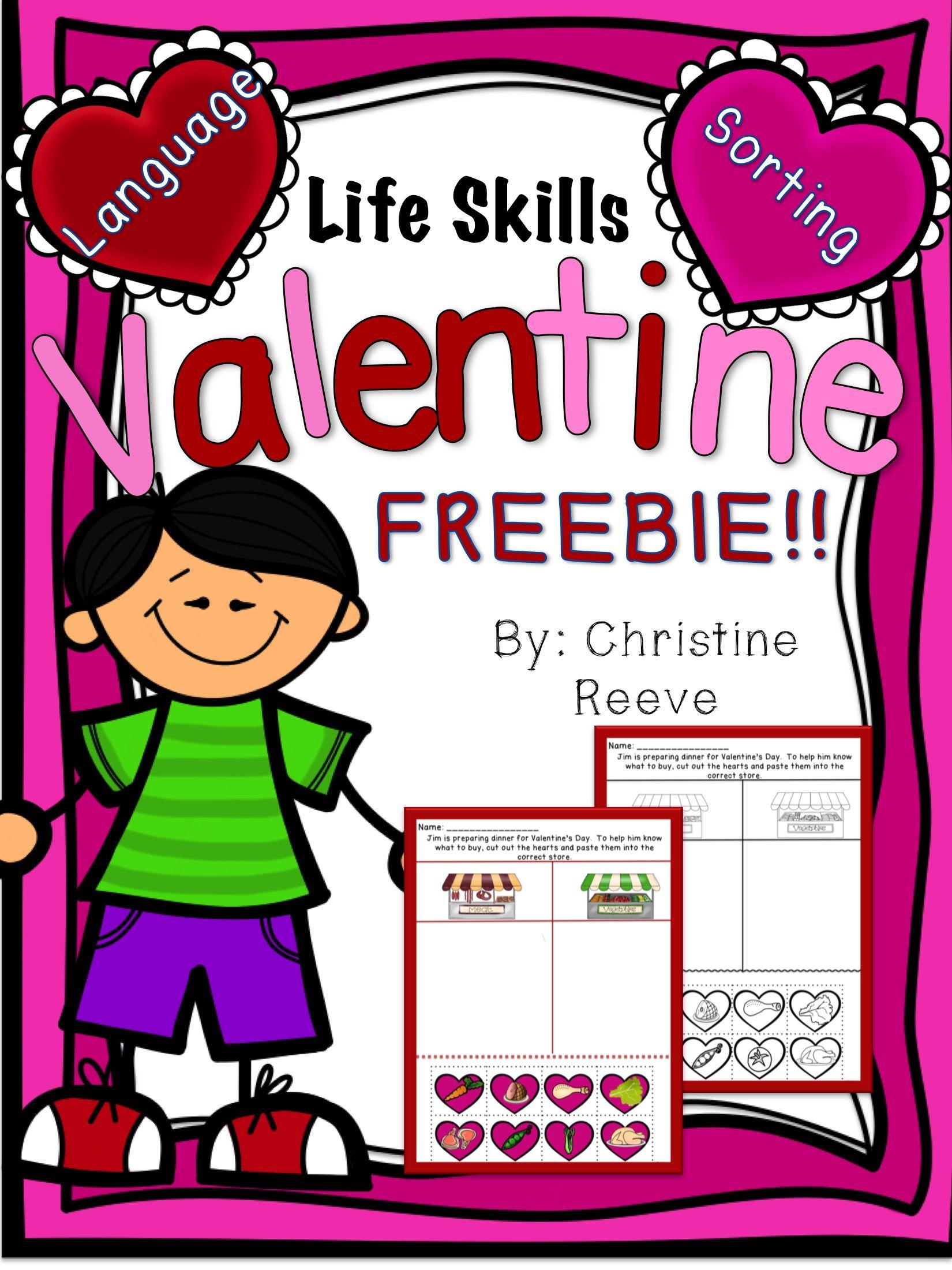 Life Skills Valentine Freebie Autism Special Ed