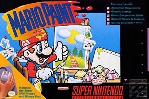 Mario Paint Super Nintendo NES SNES Game Series Box Art Yoshi Luigi Princess Print Poster - 12x18 @ niftywarehouse.com