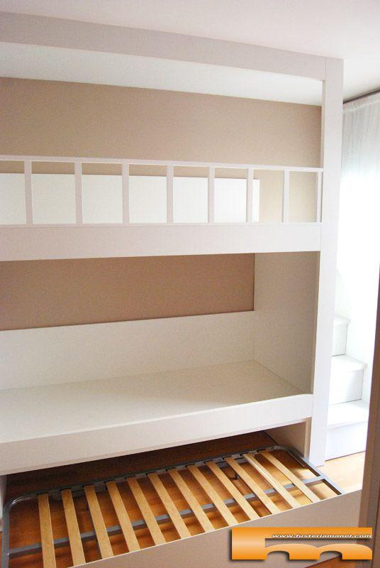 Litera escalera lateral cajones dani barcelona triple con - Escaleras para camas nido ...