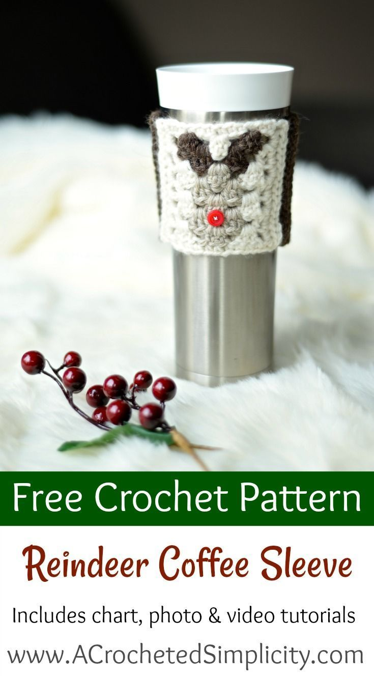 Free Crochet Pattern - Reindeer Coffee Cozy / Sleeve