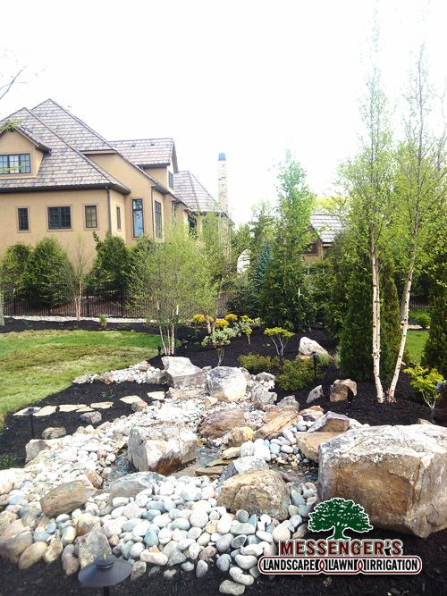 Water feature and landscaping completed by messengers lawn for Landscaping rocks kansas city mo