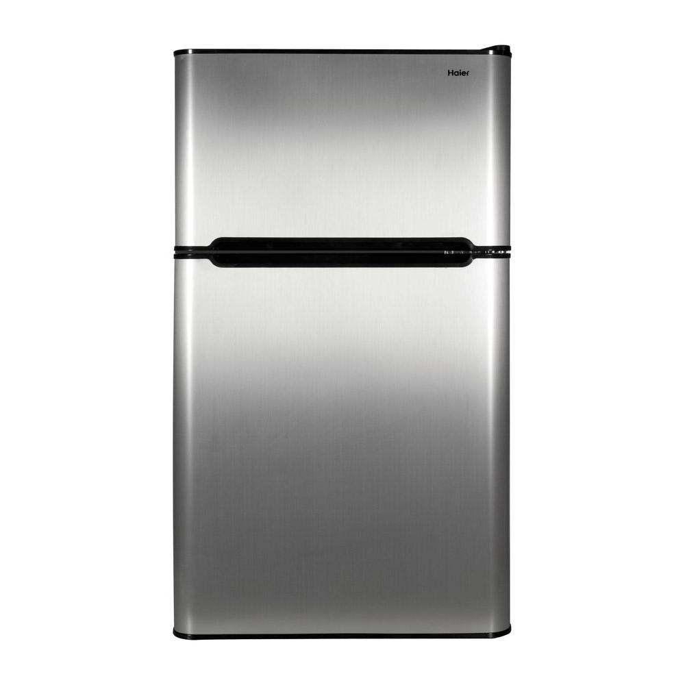 Haier Hc31tg42sv 3 2 Cu Ft 2 Door Mini Refrigerator True Freezer Virtual Steel Compact Refrigerator Two Door Refrigerator Refrigerator Freezer