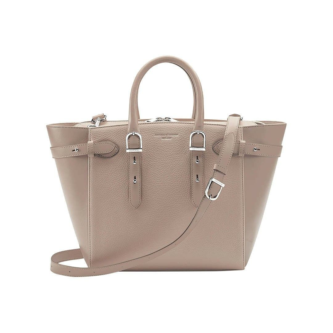 Aspinal of London Marylebone Medium Leather Tote Bag, Soft Taupe
