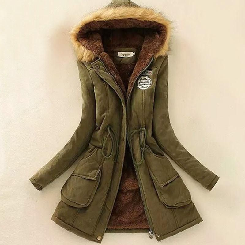 Winter Women/'s Hooded Jacket Fur Velvet Long Slim Warm Outwear Parka Coat Thick