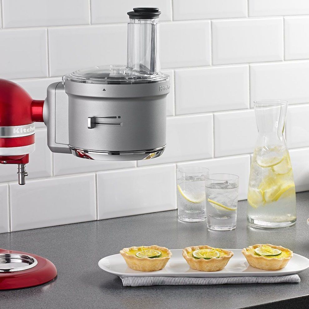 Food processor attachment set commercial style slicing