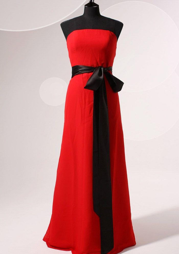 Long red and black dress