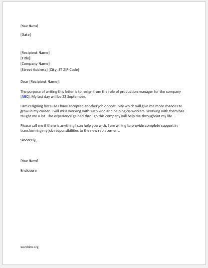 Production manager resignation letter Resignation letter