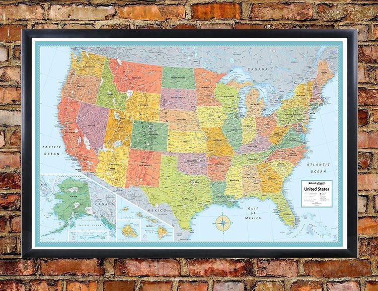 Rmc Signature United States Map Poster 32 U00d750