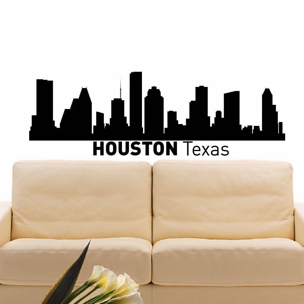 Houston Texas Skyline City Silhouette Vinyl Wall Art Decal Sticker