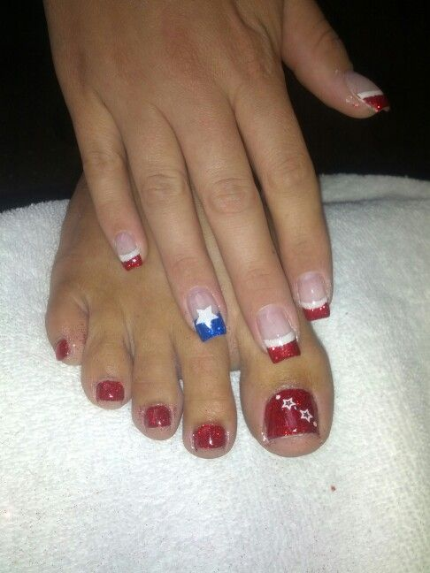 4th of july gel nails and toes