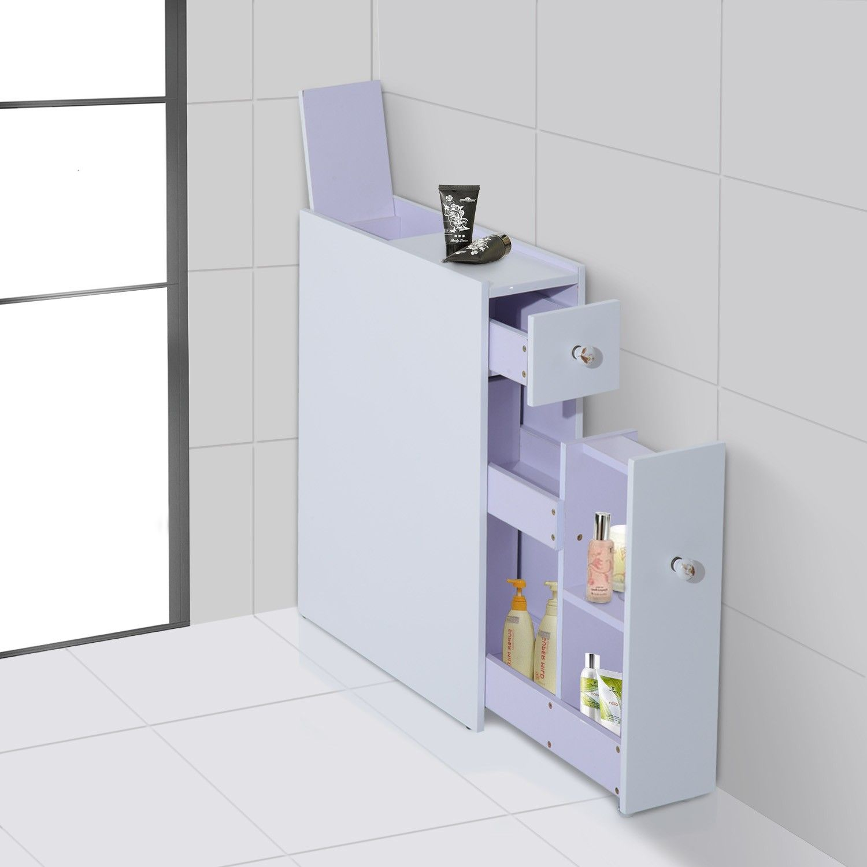 Clearance HOMCOM Bathroom Floor 2-Drawers Storage Unit-White ...