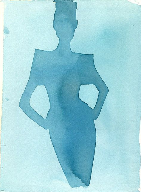 Mats Gustafson (Swedish, 1951)    Cropped blue silhouette of figure inspired by Audrey Hepburn; Color: watercolor; Signed verso; Client Tiffany & Co., Jean Schlumberger jewelry catalogue