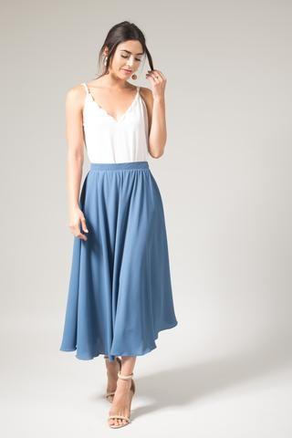 ddaf2f197 Kelly Slate Blue Gray Full Midi Skirt | MegZ Wedding things | Blue ...