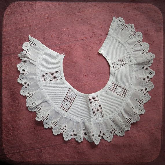 Antique Girl French Lace Victorian white Collar costume accessory with lace borders - Vintage Fine Handmade Fashion