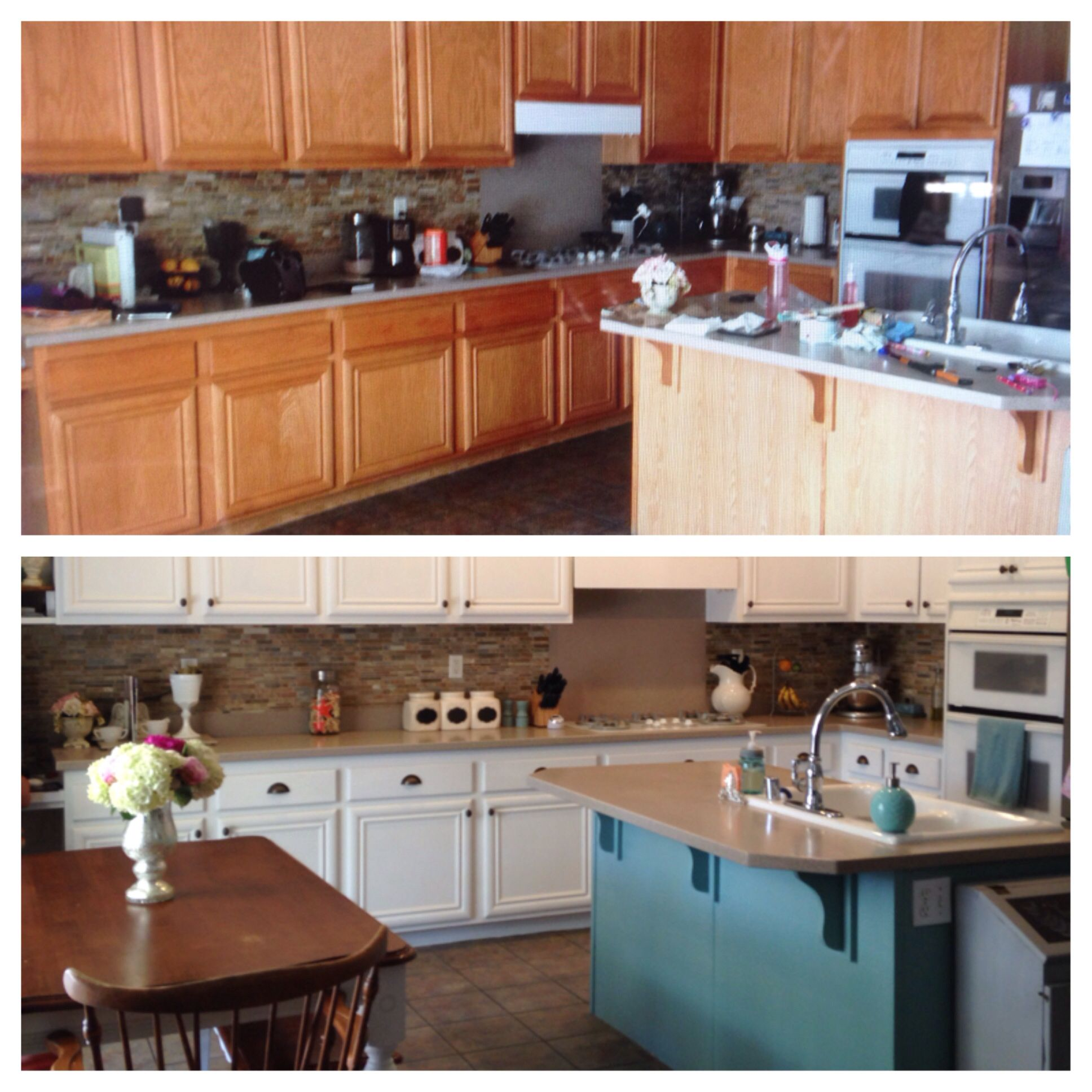 Before and after of a kitchen makeover. Annie Sloan chalkpaint. Little slice of heaven now.