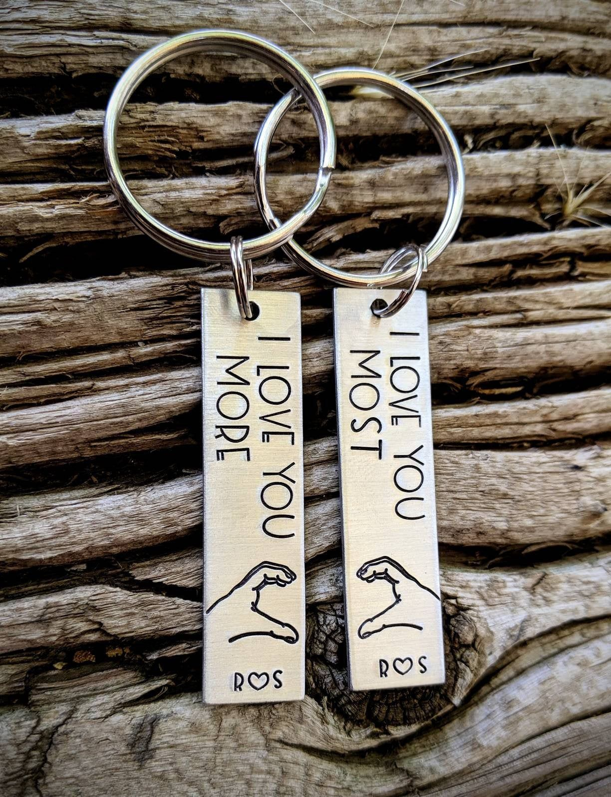 Personalized hand stamped anniversary keychains custom