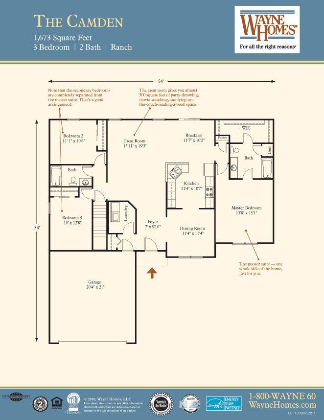 Ranch House Floor Plans The Camden Wayne Homes Ranch House