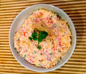 Homemade low calorie pimento cheese. Make without the jalapeno and jalapeno juice.