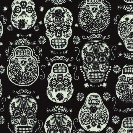 Timeless Treasures - Glow In The Dark - Folklore Skulls : Sew Modern