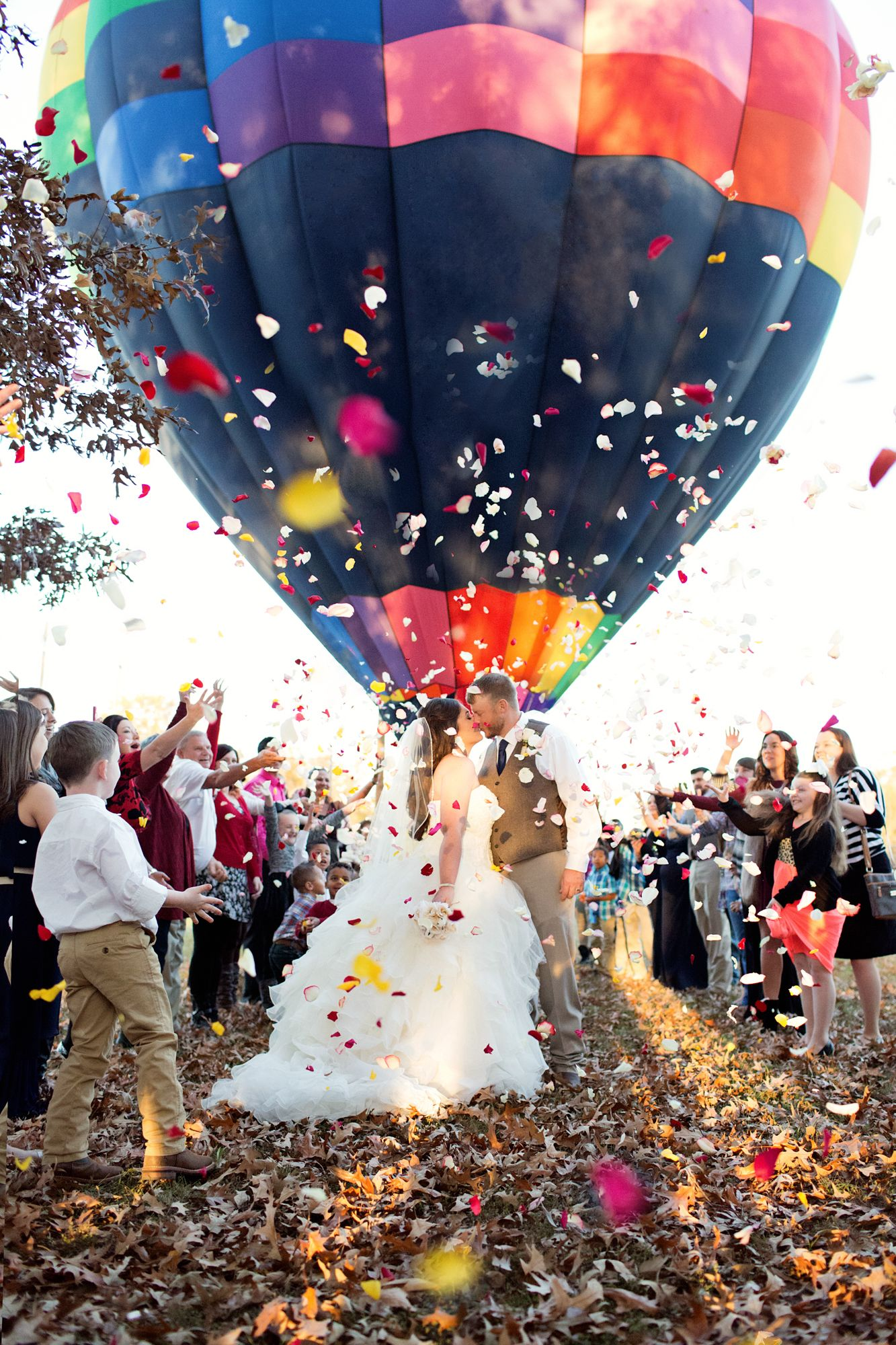 Wedding Engagement Photography Photos Hot Air Balloon Rose Petals
