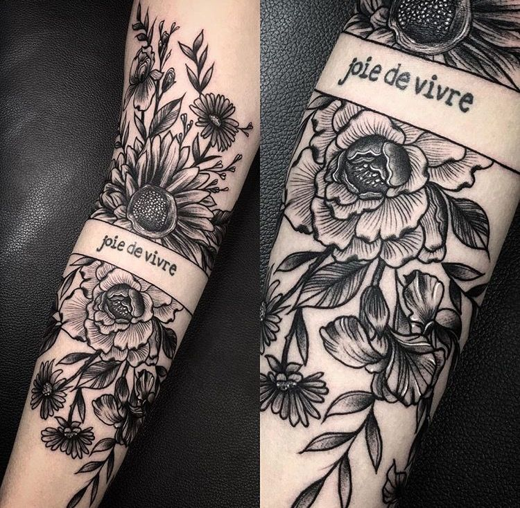 Tattoo (except lettering) done by Nate Silverii of Cosmic Debris Tattoo,  Ottawa.