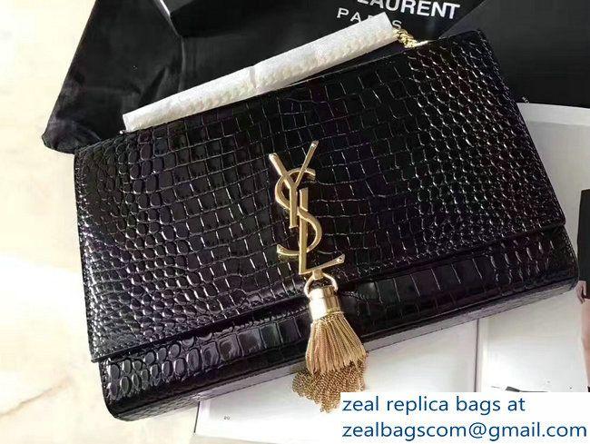 d70da5f4cb6 Saint Laurent Classic Medium Kate Monogram Tassel Satchel Crocodile  Embossed Shoulder Bag 354119 Black Gold