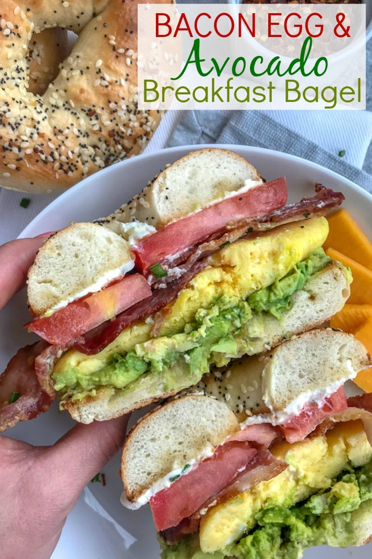 Bacon Egg and Avocado Breakfast Bagel | With Peanut Butter on Top