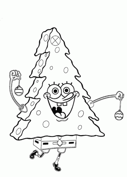 Cartoon Coloring, Spongebob Coloring Pages For Kids Xmas Tree ...