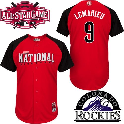 310f6bee8aa Men National League Colorado Rockies  9 DJ LeMahieu 2015 MLB All-Star Red  Jersey