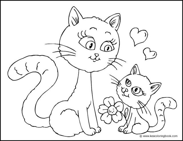 Kitten and Mother Cat - Coloring Page | Cat colors