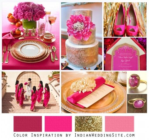 Hot Pink And Gold Indian Wedding Color Inspiration Site Home Vendors Clothes Invitations