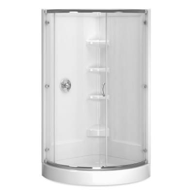frameless shower enclosure in chrome with clear glass and base in white