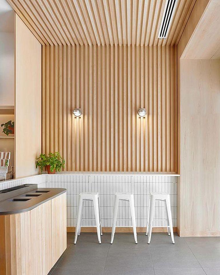 Wood Slat Trend Commercial Interior Design Commercial Interiors Cafe Design