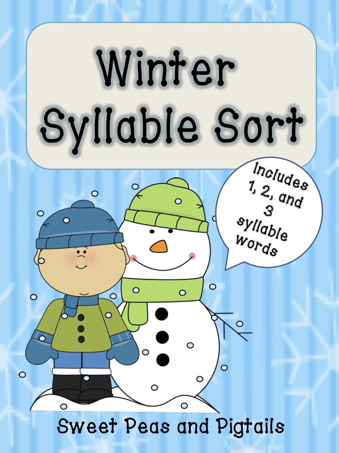 Free Winter Syllable Sorting Activity Great Way To Target Phonological Awareness