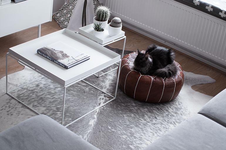 Red reiding hood: grey cowhide rug scandinavian minimal interior