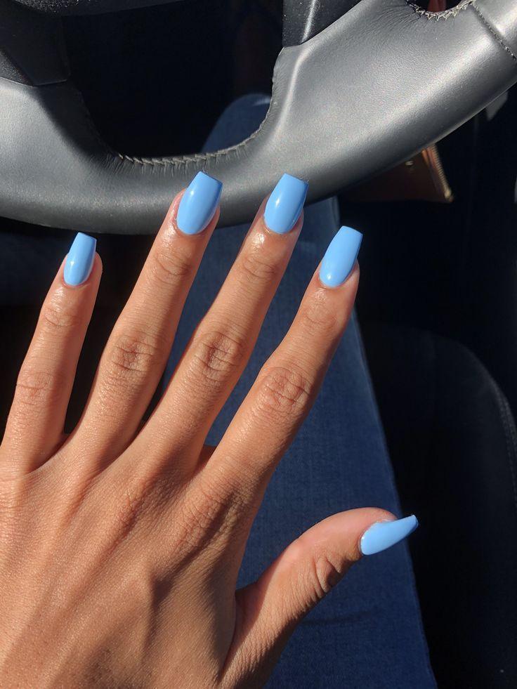 Blaue Acrylsargnägel Sommer #AcrylicNailsGlitter