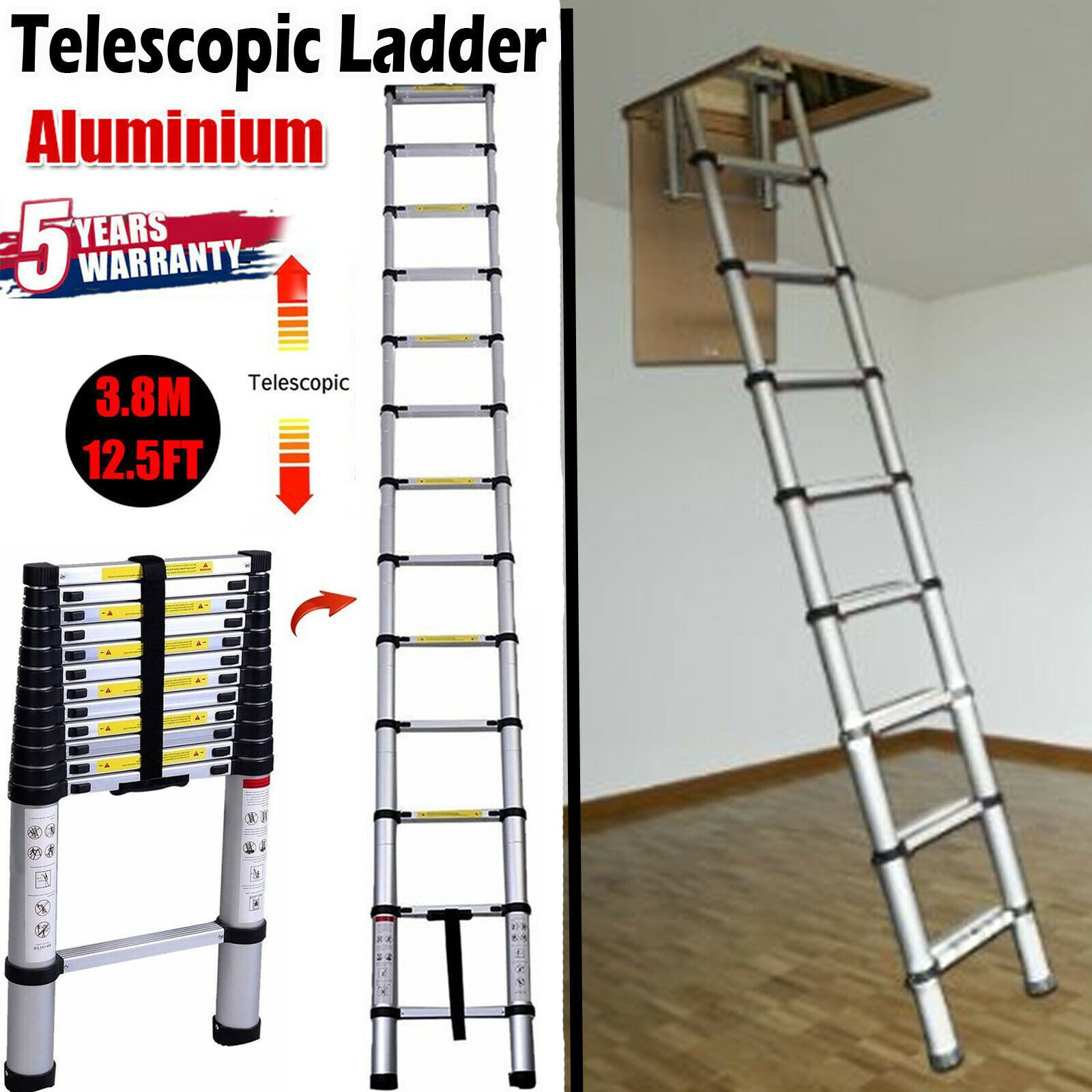 3 8m Heavyduty Aluminium Telescopic Ladder Extendable Roof Loft Attic Office Diy Ebay In 2020 Attic Ladder Telescopic Ladder Ladder